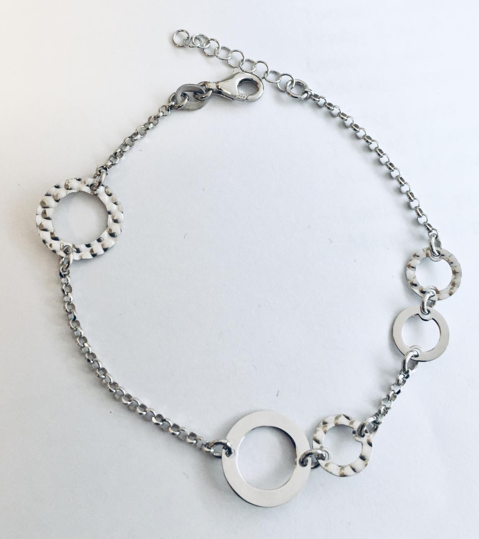 Armlenke rh.sølv 17+2cm m/sirkler