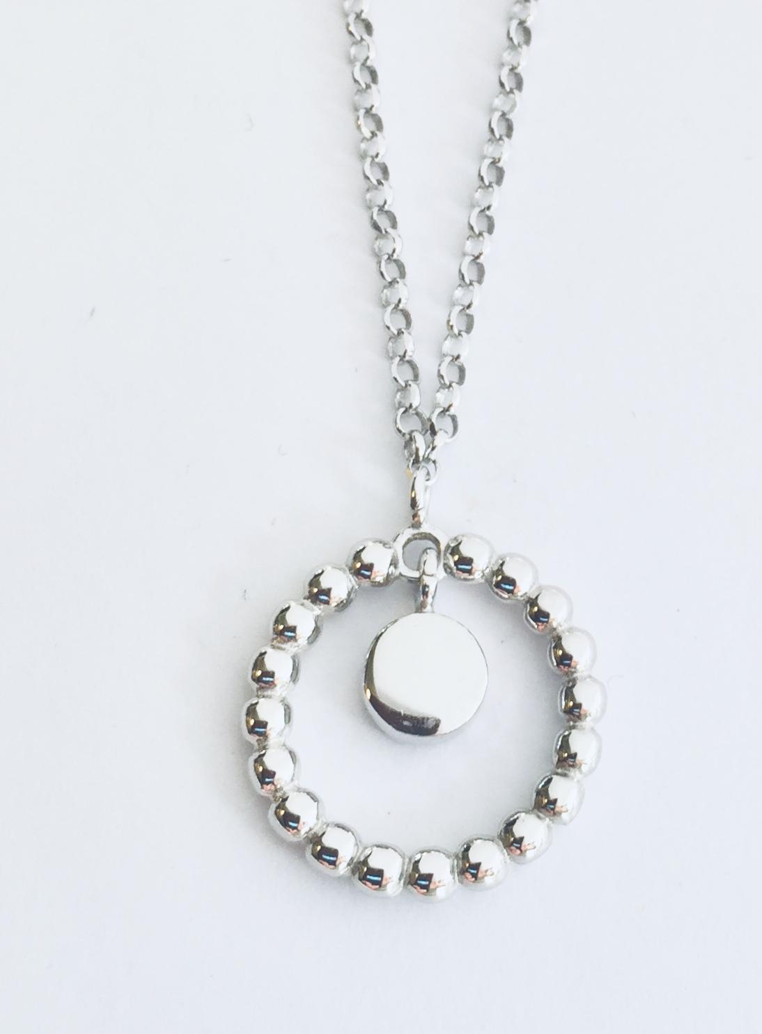 Collier rh.sølv 40+3cm m/sirkel av kuler