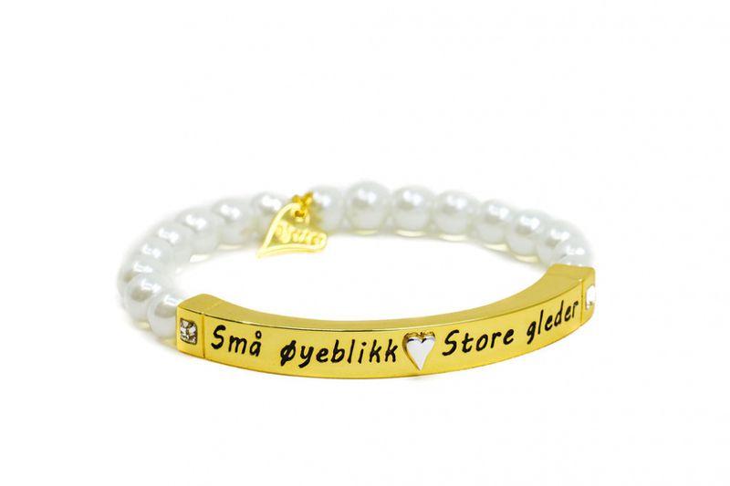 """Armlenke """"gull"""" perler/plate m/tekst: Små øyeblikk Store gleder"""