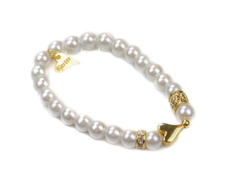 """Armlenke """"gull"""" perler(strikk) m/glatt hjerte +stenbånd på sidene"""