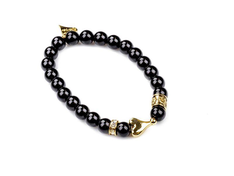 """Armlenke """"gull"""" sorte perler(strikk) m/glatt hjerte +stenbånd på sidene"""