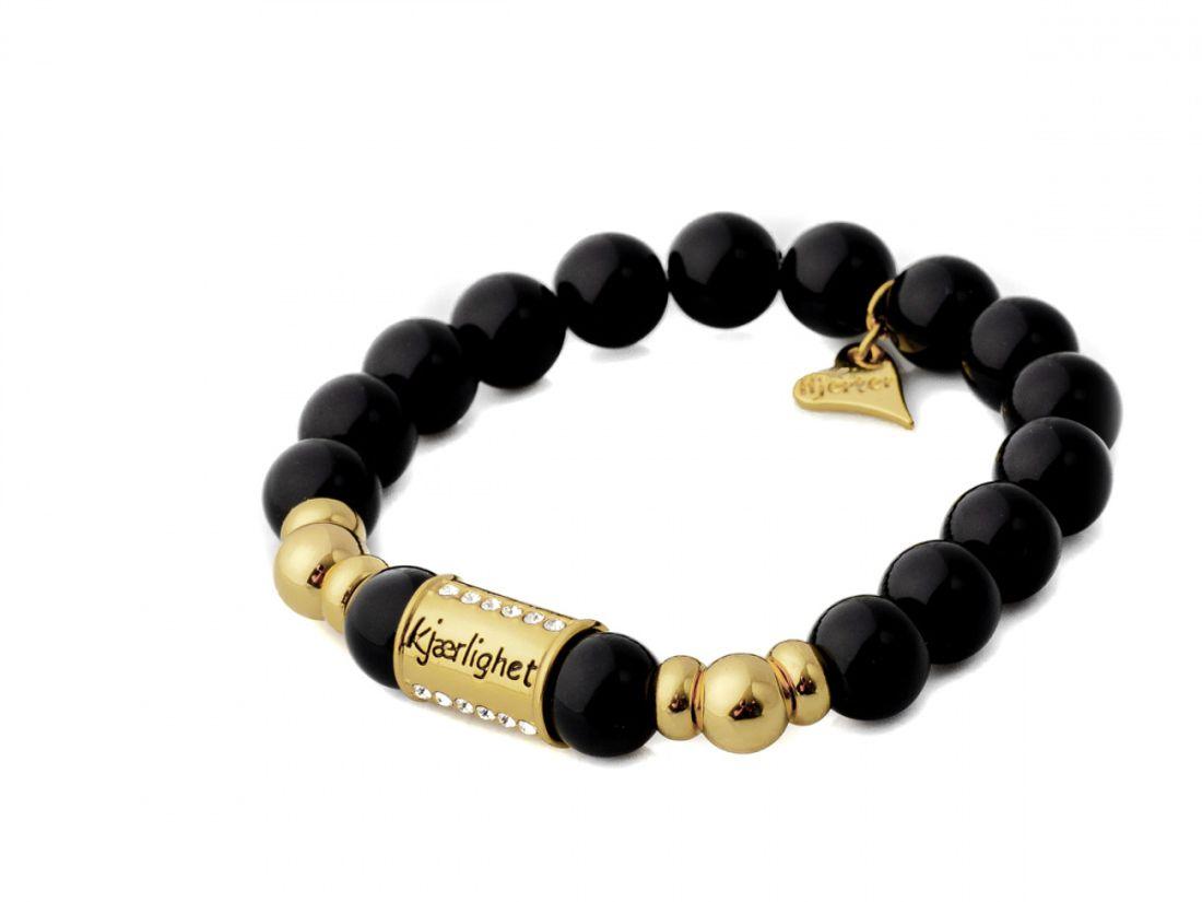Armlenke sorte perler(strikk) m/gullfargede kuler/tønne m/gode ord