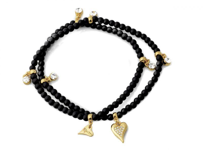 Armlenke sorte perler 3r(strikk) m/gullf. stencharms/hjerte m/st