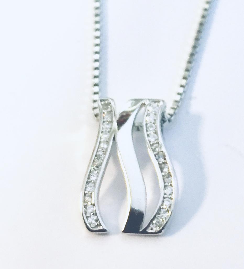 Anheng rh.sølv 3R m/stener på 2 rader