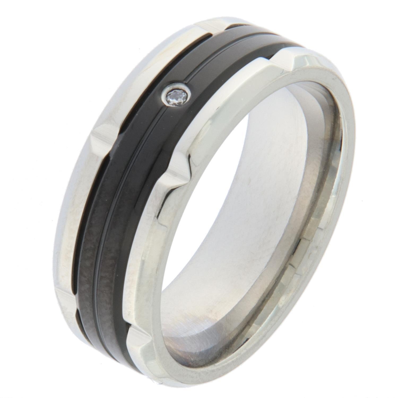 Ring stål 8mm m/sort felt i midten +zircon