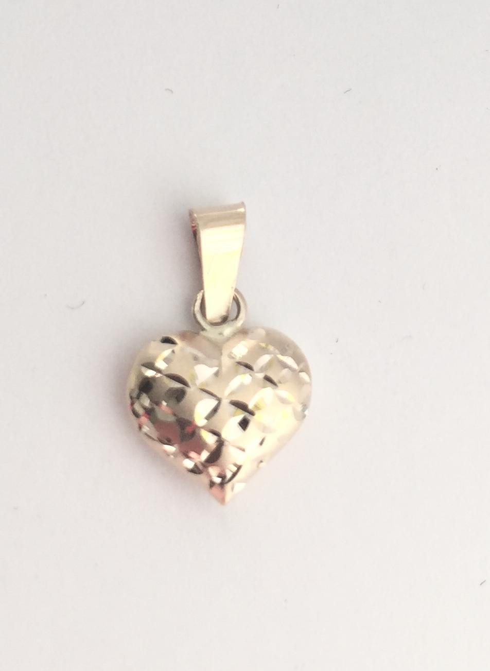 Hjerte gull 8mm matt/slipt