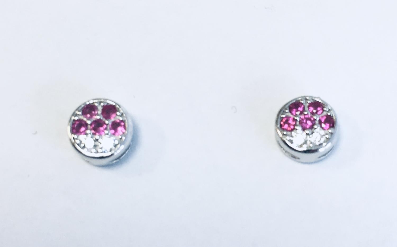 Ørepynt rh.sølv rund m/stener rosa/blank
