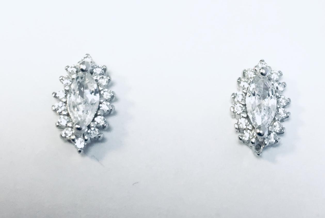 Ørepynt rh.sølv rosett m/zirconer