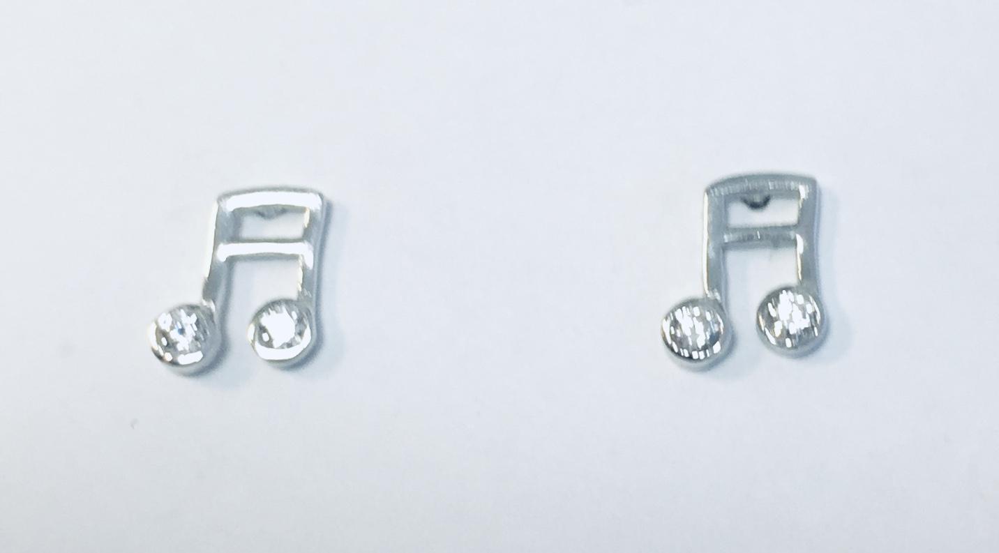 Ørepynt rh.sølv noter m/sten