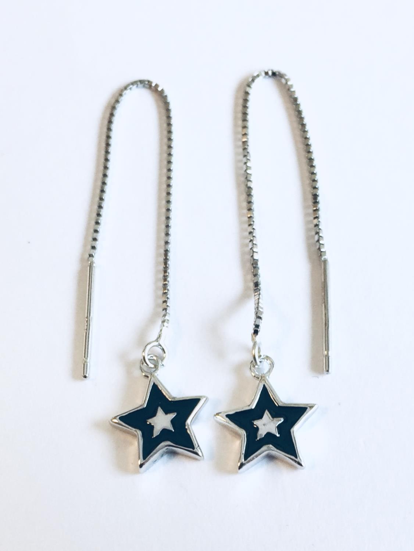 Øreheng rh.sølv balans- m/sort emalje stjerne