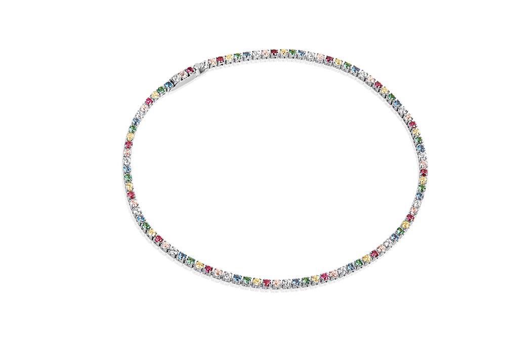 Armlenke rh.sølv 17cm smal multicolor