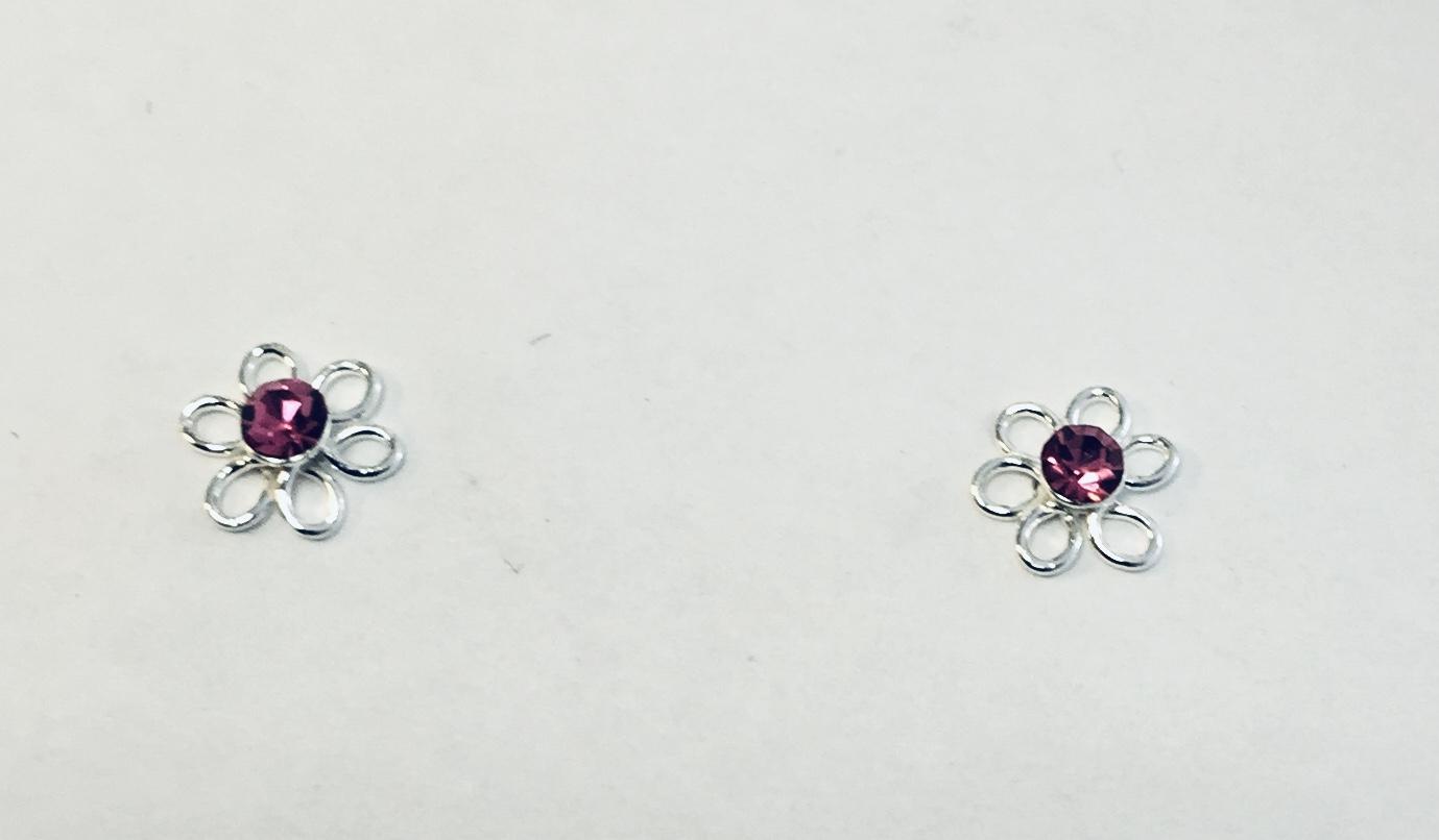 Ørepynt sølv blomst m/rosa sten