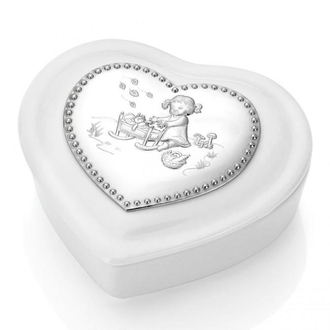 """Smykkeskrin """"Hjertevenn"""" pike hvit porselen med tinn motiv"""