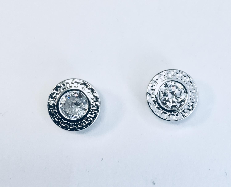 Ørepynt rh.sølv rund m/zircon+mønster rundt