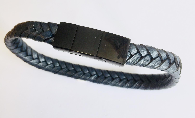 Armlenke sort stål /mørk blå flettet skinn