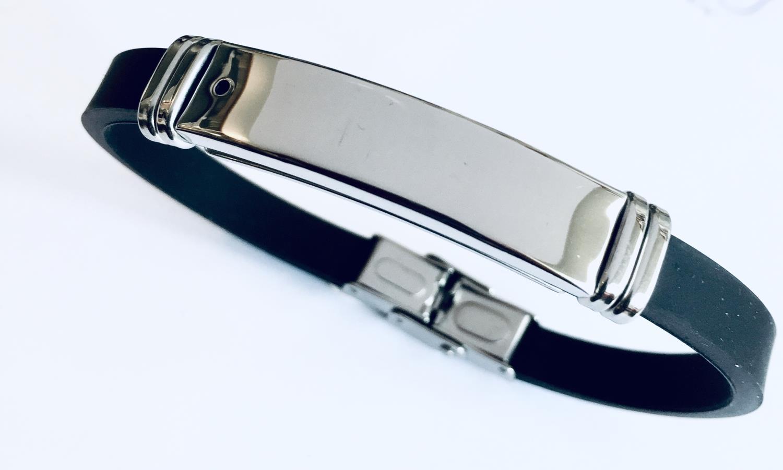 Armlenke stål plate på sort PU gummireim