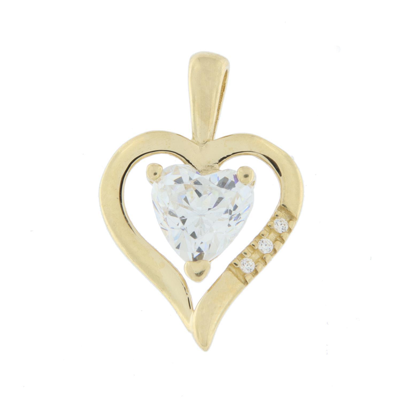 Hjerte gull åpent m/c-zircon-hjerte inni + 3 cz nedfelt på ene siden