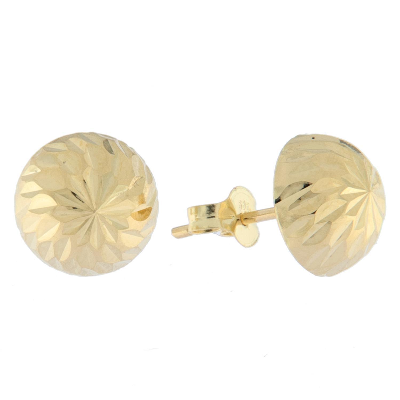 Ørepynt gull 8mm slipt halvkule