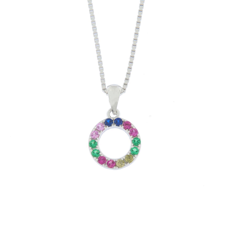 """Anheng rh.sølv åpent ring m/stener multi """"regnbue"""""""