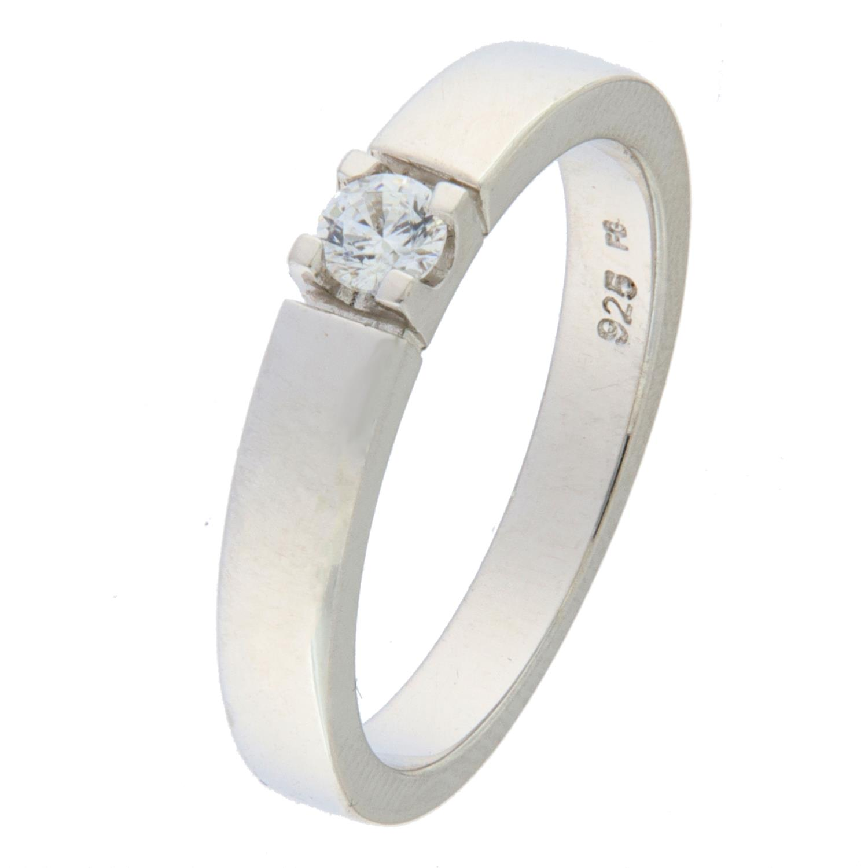 Ring rh.sølv allianse m/zircon 3mm