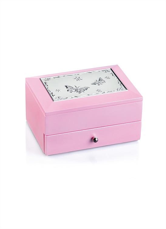 Smykkeskrin rosa treskrin, blomstermotiv i plett på lokket