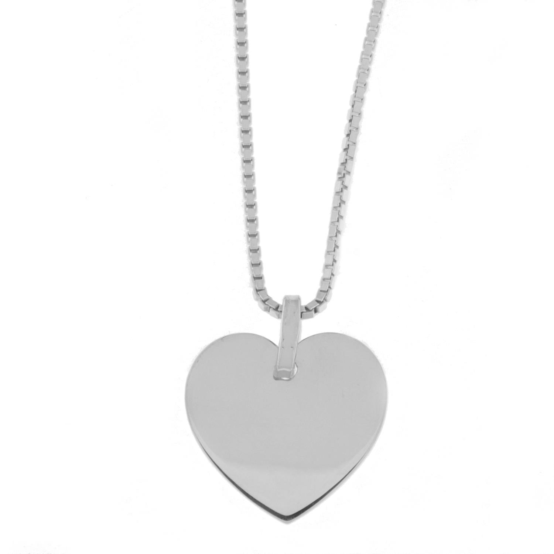 Hjerte rh.sølv glatt/flatt 15mm