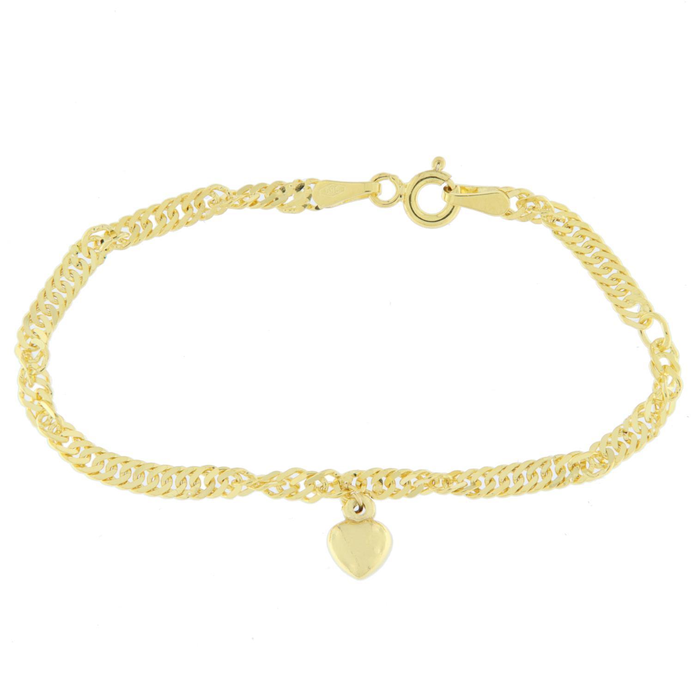 Armlenke gull 12+2cm Singapore m/hjerte
