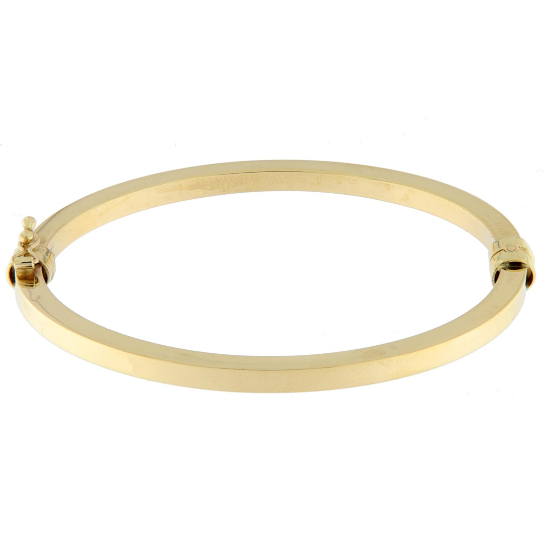 Armring gull 4mm glatt firk.profil m/lås
