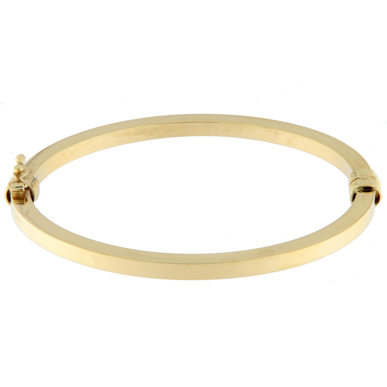 Armring gull 4mm glatt firk.profil m/lås stor modell