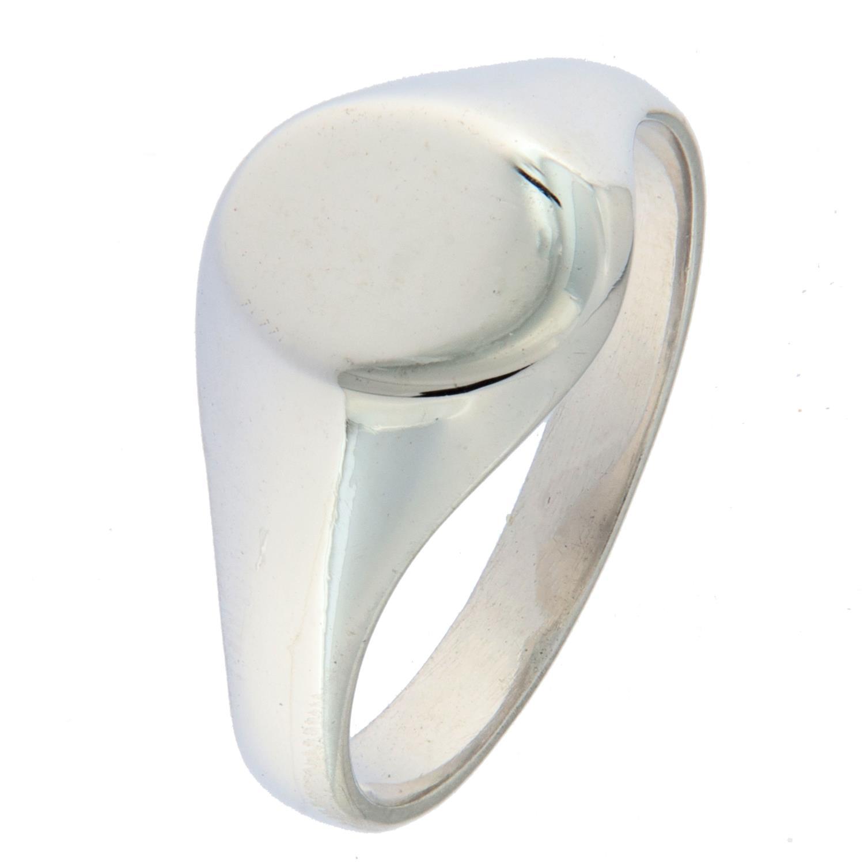 Ring rh.sølv signet m/oval børstet liten plate