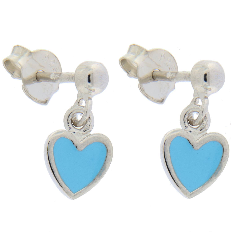 Øreheng sølv m/lysblått emaljehjerte