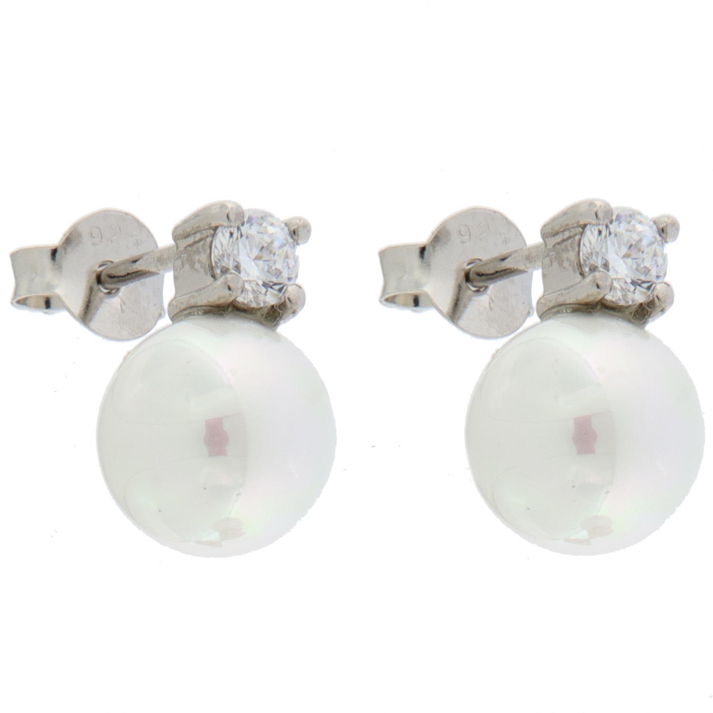 Ørepynt rh.sølv 8mm hvit perle + sten i 4 klør