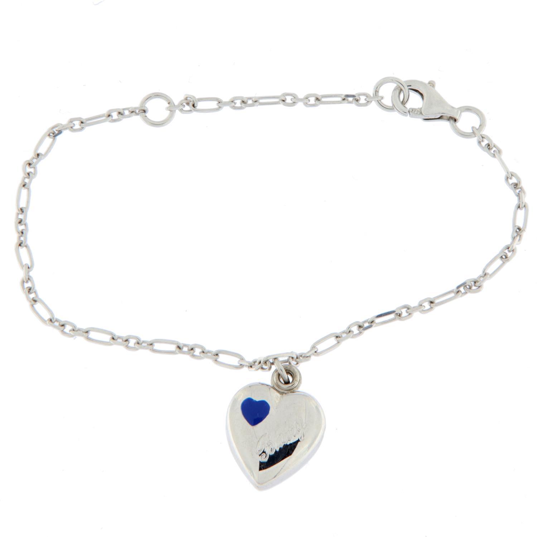 Armlenke rh.sølv 14+17cm fig.anker m/hjertemedaljong blå em. baby