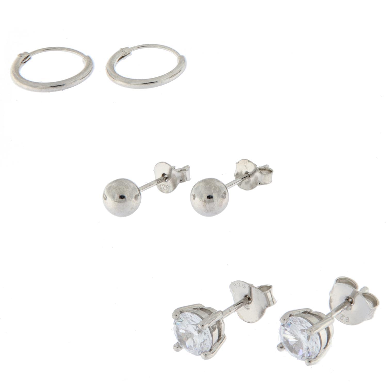 Sett rh.sølv m/3 par ørepynt 6mm sten /5mm kuler /10mm ørering