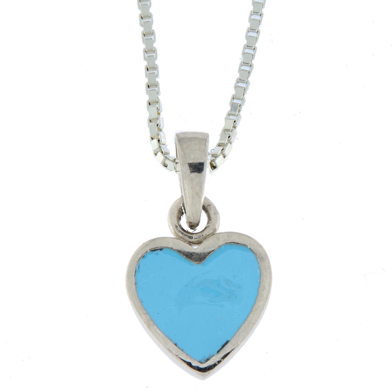 Anheng sølv hjerte m/lysblå emalje