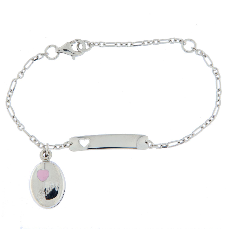 Armlenke rh.sølv 13+16cm fig.anker m/oval medaljong rosa em. baby