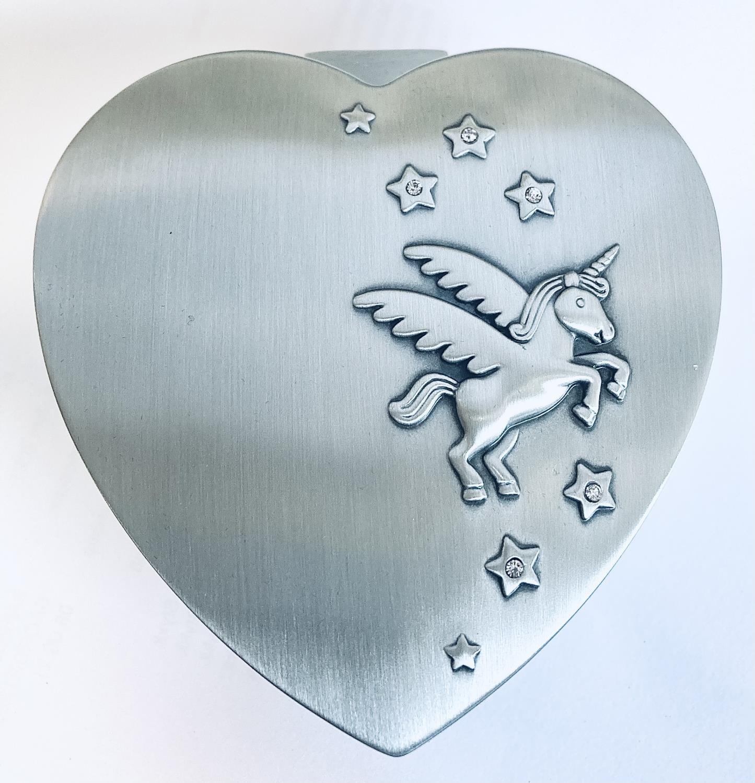 Smykkeskrin hjerte 10x10cm tinn-finish m/enhjørning