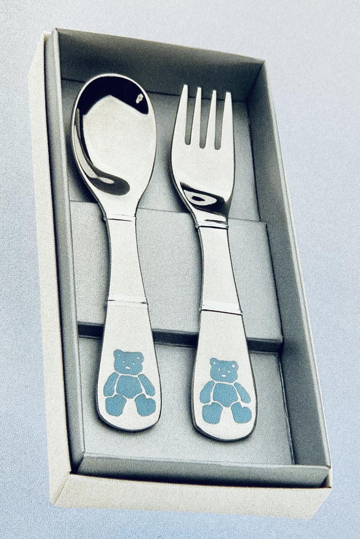 Bestikk 2-del stål m/blå bamse baby