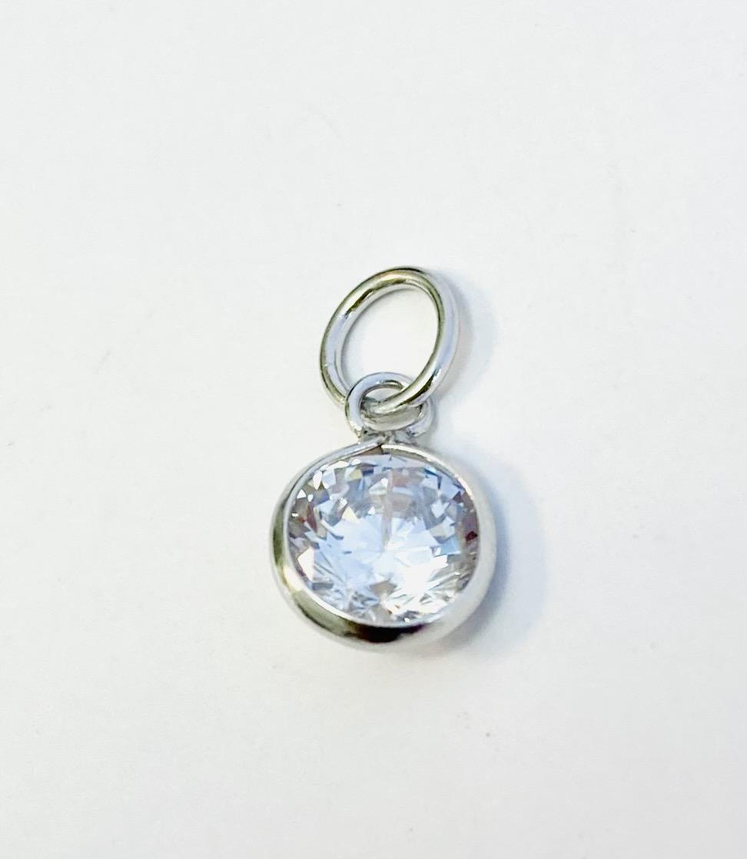 Anheng rh.sølv liten rund sten rosa/ aqua/ blank