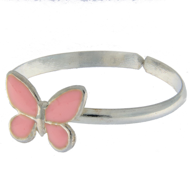 Ring sølv barn m/sommerfugl emalje regulerbar rosa/ lilla/ blå/ hvit