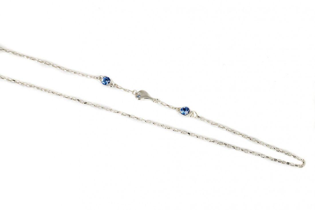 """Collier """"sølv"""" 55+5cm kjede m/lite hjerte og 2 blå stener"""