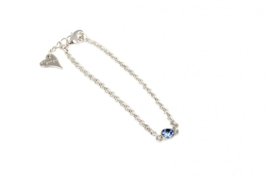 """Armlenke """"sølv"""" m/blå sten midt på"""