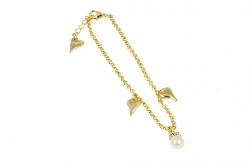"""Fotlenke """"gull"""" m/hjerter+perle i heng"""
