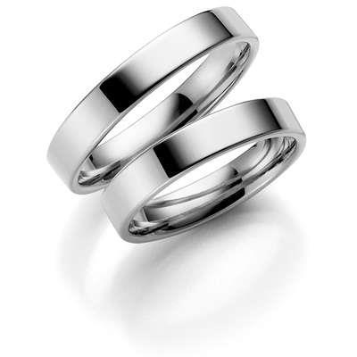 Forl.-/giftering sølv 3mm rett utvendig/ buet innvendig