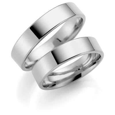Forl.-/giftering sølv 5mm rett utvendig/ buet innvendig