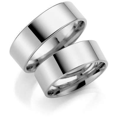 Forl.-/giftering sølv 9mm rett utvendig/ buet innvendig