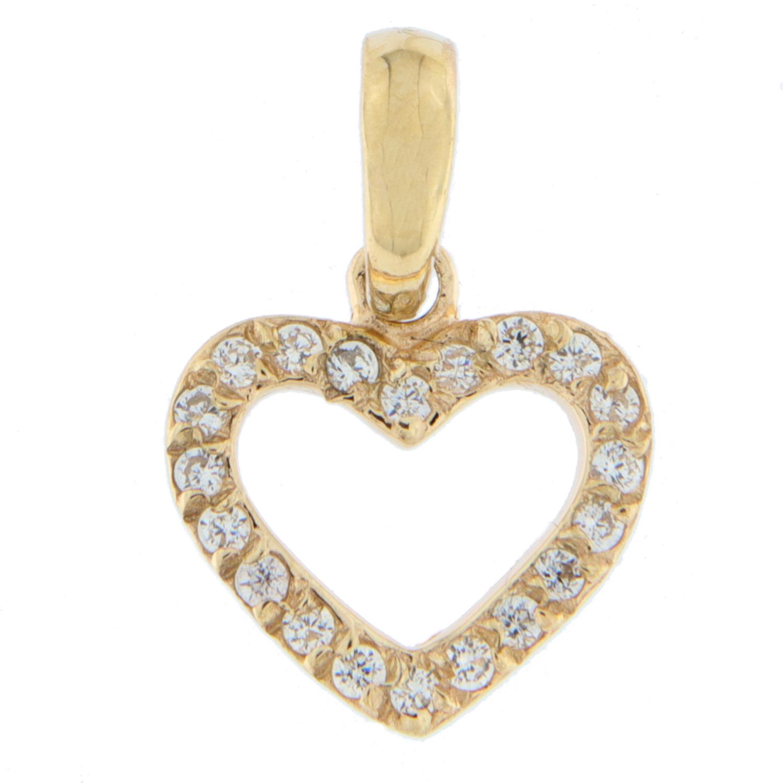Hjerte gull åpent m/zirconer