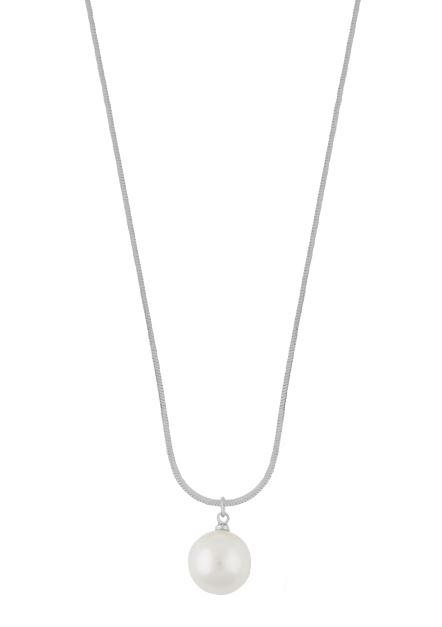 """Collier """"sølv"""" 12mm hvit perle på 43cm slangekjede"""