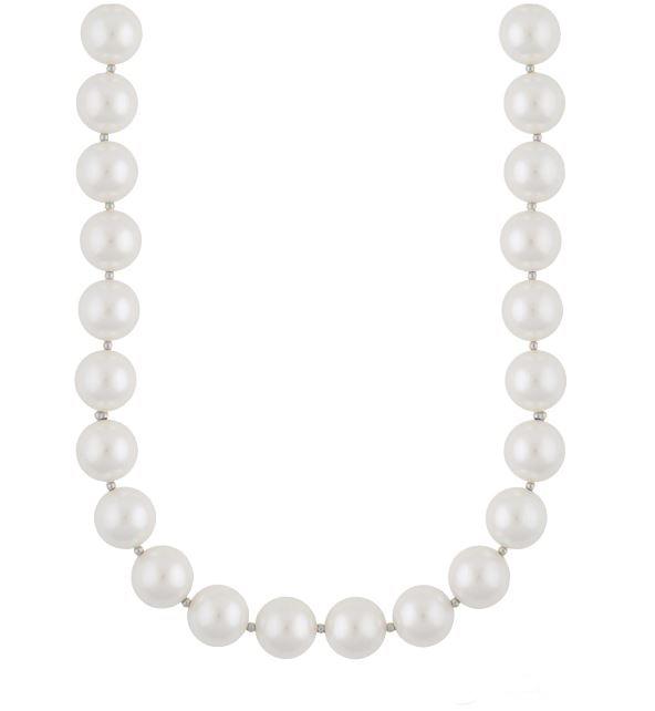 """Collier """"sølv"""" 12mm hvite perler / 2mm sølvkuler 46+2cm"""