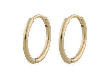 """Ørering """"gull"""" 18mm diameter rund profil hengslet"""